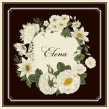 Bloemen wijnoogst Vector illustratie Modieuze kaart plantkunde Bloemen patroon Klassiek frame Stock Afbeelding