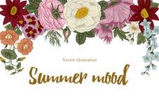 Bloemen wijnoogst Vector illustratie Modieuze kaart plantkunde Bloemen patroon Klassiek frame Stock Foto