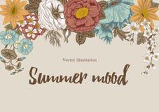 Bloemen wijnoogst Vector illustratie Modieuze kaart plantkunde Bloemen patroon Klassiek frame Stock Afbeeldingen