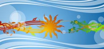 Bloemen, zon en krommen Royalty-vrije Stock Fotografie