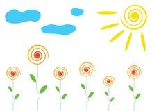 Bloemen, zon en wolkenillustratie Stock Afbeelding