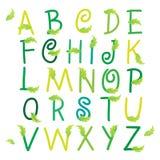 Bloemenabc met groene bladeren vectorillustratie Stock Fotografie