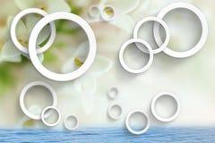 Bloemenabstractie Stereoscopisch fotobehang voor binnenland het 3d teruggeven royalty-vrije illustratie
