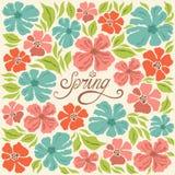 Bloemenachtergrond, de lente het van letters voorzien, groetkaart Stock Fotografie