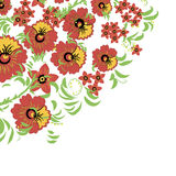 Bloemenachtergrond met bladeren, wervelingen Russisch traditioneel ornament Vector naadloos patroon in Hohloma-stijl Stock Afbeeldingen