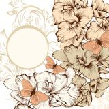 Bloemenachtergrond met bloemen en ruimte voor tekst Stock Afbeelding