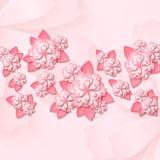 Bloemenachtergrond met 3d verwijderde document roze bloemen met bladeren vector illustratie