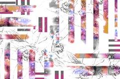 Bloemenachtergrond met de contour van de potloodbloem en waterverfelement Stock Afbeelding