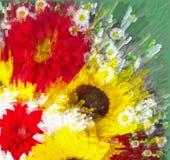 Bloemenachtergrond met gestileerd levendig boeket van zonnebloem, aster, Dalia met centrifugaalstralen vector illustratie