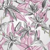 Bloemenachtergrond met hand getrokken bloemen. Vectoreps10. Royalty-vrije Stock Afbeelding