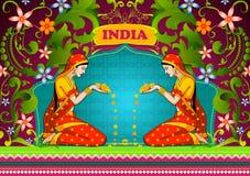 Bloemenachtergrond met Indische vrouw het welkom heten bloem die Ongelooflijk India tonen royalty-vrije illustratie