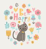 Bloemenachtergrond met katten en vogels vector illustratie