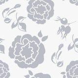 Bloemenachtergrond met mooie rozenpastelkleur, zwart-wit naadloos patroon vector illustratie
