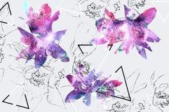 Bloemenachtergrond met natuurlijke bloem en potloodcontour en geometrisch Royalty-vrije Stock Fotografie