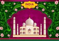 Bloemenachtergrond met Taj Mahal die Ongelooflijk India tonen royalty-vrije illustratie