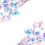 Bloemenachtergrond. Waterverf bloemenboeket. Verjaardagskaart. Stock Foto