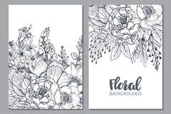 Bloemenachtergronden met hand getrokken bloemen en installaties vector illustratie