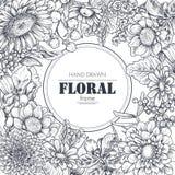 Bloemenachtergronden met hand getrokken bloemen en installaties royalty-vrije illustratie