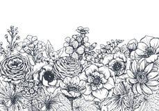 Bloemenachtergronden met hand getrokken de lentebloemen en installaties vector illustratie