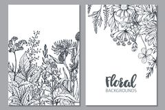Bloemenachtergronden met hand getrokken kruiden en wildflowers stock illustratie