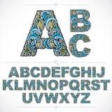Bloemenalfabet zonder serif getrokken brieven gebruikend abstracte wijnoogst Stock Afbeeldingen
