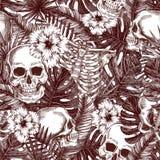 Bloemenanatomie Het tropische uitstekende naadloze patroon van Halloween De schedelachtergrond van de Creppywildernis