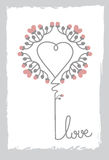 Bloemenart heart shape love sign-Bloem en Bladornament Royalty-vrije Stock Fotografie