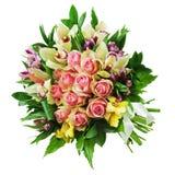 Bloemenboeket van rozen, lelies en orchideeënregelingscenterpi Stock Foto