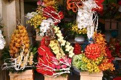 Bloemenboeketten op markt voor zeil royalty-vrije stock afbeeldingen