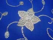 Bloemenborduurwerk op blauwe saree met gouden van de zijdedraad & opeenvolging versieringen Royalty-vrije Stock Afbeelding