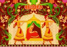 Bloemendame als achtergrond in palanquin die Ongelooflijk India tonen vector illustratie