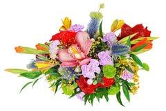 Bloemen boeket van geïsoleerded orchideeën, gladioluses en anjer Stock Fotografie