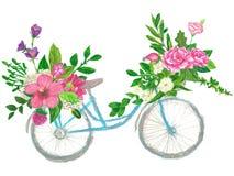 Bloemendiekronen op een fietshand met de kleurpotloden van de oliepanda wordt geschilderd Stock Fotografie