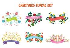 Bloemendieontwerpelementen met linten voor groetkaarten worden geplaatst Royalty-vrije Stock Afbeeldingen