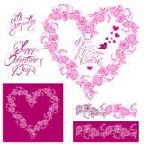 Bloemenelementen: hartkader, naadloze grens met bloemen, vraag Royalty-vrije Stock Afbeelding