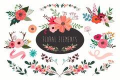 Bloemenelementeninzameling royalty-vrije stock afbeelding