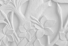 Bloemengravures op zandsteen Royalty-vrije Stock Foto's