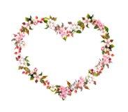 Bloemengrens - hartvorm, de lentebloemen Waterverf voor Valentine-dag, huwelijk Stock Foto's