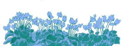Bloemengrens met cyclaam op blauw Royalty-vrije Stock Foto's