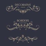 Bloemengrenzen met kalligrafische elementen Royalty-vrije Stock Afbeeldingen