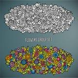 Bloemengroep in verschillend van kleur wordt geplaatst die Stock Fotografie