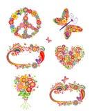 Bloemengroeten en hippieelementen royalty-vrije illustratie