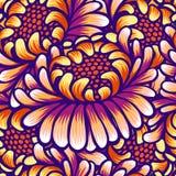 Bloemenhand getrokken uitstekend naadloos patroon met bloemen Fabelachtige oranje-purpere bloemen Tropisch naadloos patroon met vector illustratie