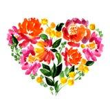 Bloemenhart met bloemen en bladeren watercolor Stock Afbeeldingen