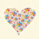 Bloemenhartuitnodiging Valentine Day Card Royalty-vrije Stock Afbeelding