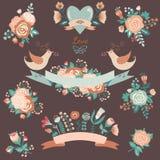 Bloemeninzameling met ontwerpelementen Stock Fotografie