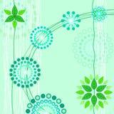 Bloemenkaart met groene bloemen op groene achtergrond Stock Afbeeldingen