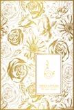 Bloemenkaart op goud met kantornament en plaats voor tekst Stock Foto
