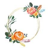 Bloemenkaart temlate in Boheemse stijl Gouden hoepelkroon met waterverf roze en oranje pioen en groen blad Illustratie met bloeme vector illustratie