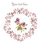 Bloemenkaart - violette viooltjebloem in bladerenkroon Geschilderde waterverf wijnoogst Royalty-vrije Stock Afbeeldingen